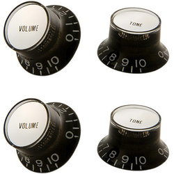 Gibson PRMK-010 Top Hat Style Knobs - Black with Silver Metal Insert, Set of 4