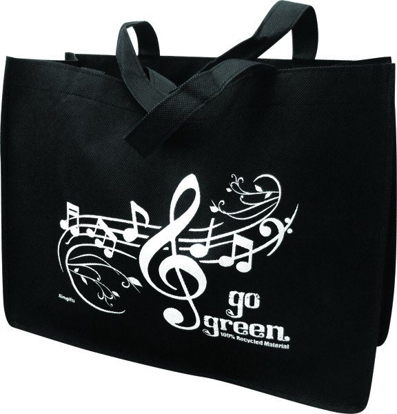 View larger image of Go Green Music Staff Reusable Tote Bag - Black/White