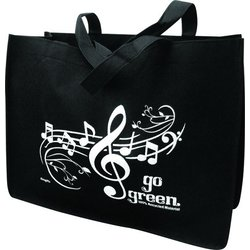 Go Green Music Staff Reusable Tote Bag - Black/White