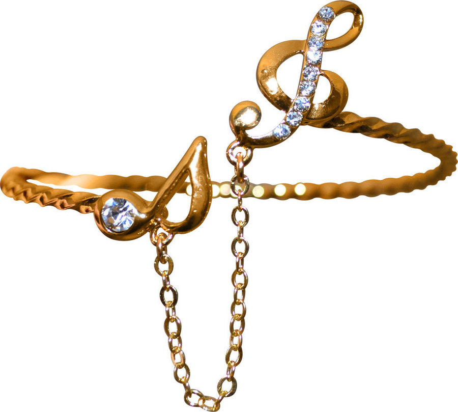 View larger image of Gold Bracelet with Treble Clef, Note and Rhinestones