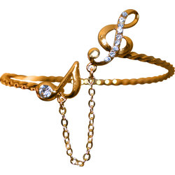 Gold Bracelet with Treble Clef, Note and Rhinestones