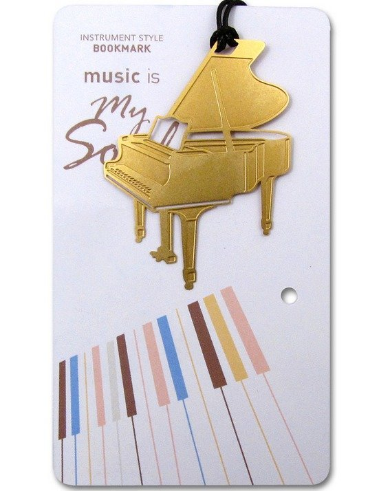 View larger image of Gold Instrument Bookmark - Grand Piano