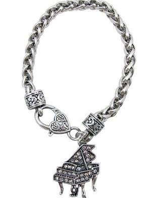 View larger image of Grand Piano Bracelet with Crystals - Silver, 7-3/4
