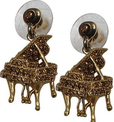 View larger image of Grand Piano Crystal Earrings - Amber/Gold