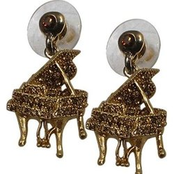Grand Piano Crystal Earrings - Amber/Gold