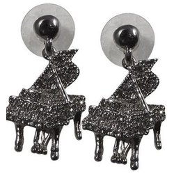 Grand Piano Crystal Earrings - Clear/Silver