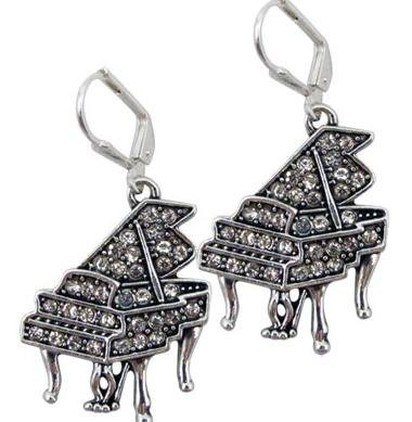 View larger image of Grand Piano Earrrings with Crystals - Silver