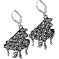 Grand Piano Earrrings with Crystals - Silver