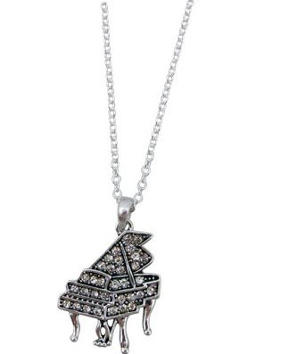 View larger image of Grand Piano Necklace with Crystals - Silver