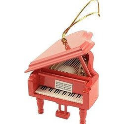 Grand Piano Ornament - Red, 3-1/2