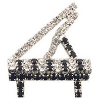 View larger image of Grand Piano Rhinsetone Brooch - Silver/Black