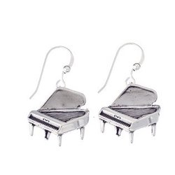 Grand Piano Sterling Silver Earrings