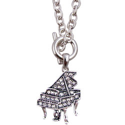 Grand Piano Toggle Necklace with Rhinestones - Silver