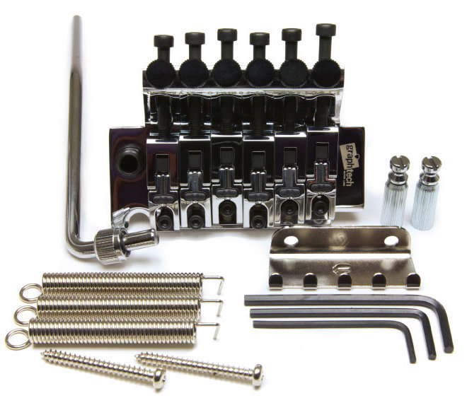 View larger image of Graph Tech LB63 Fr Style Locking Bridge With String Savers - Chrome