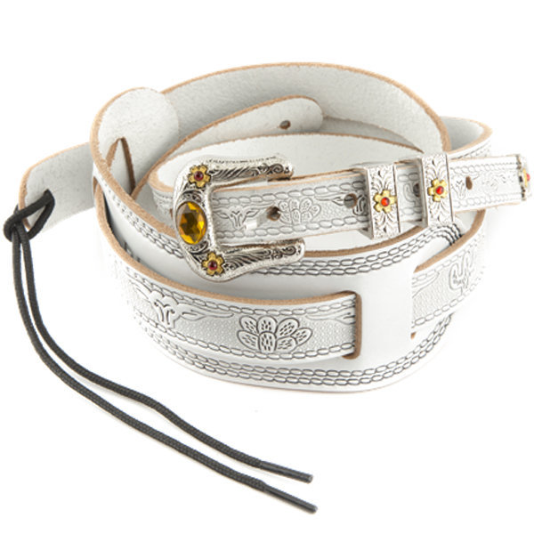 View larger image of Gretsch Tooled Vintage Leather Guitar Strap - White