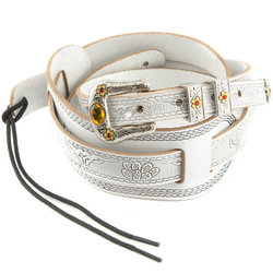 Gretsch Tooled Vintage Leather Guitar Strap - White