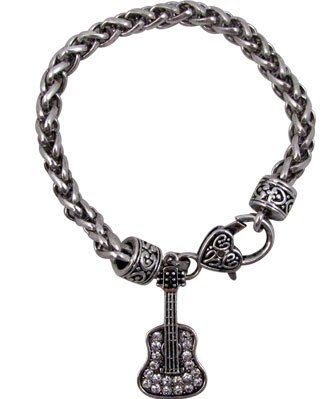 View larger image of Guitar Bracelet with Crystals - Silver