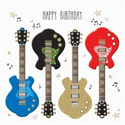 Happy Birthday Card - Guitars