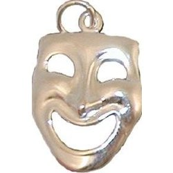 Happy Comedy Face Sterling Silver Charm - Large