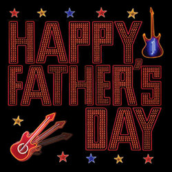 Happy Father's Day Card - Neon Guitars