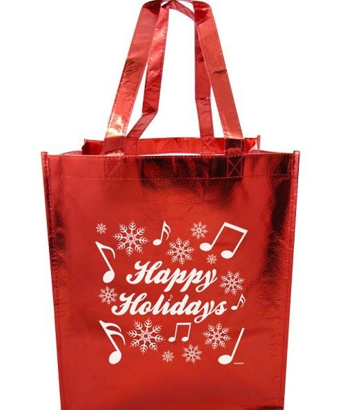 View larger image of Happy Holidays Tote with Notes - Metallic Red