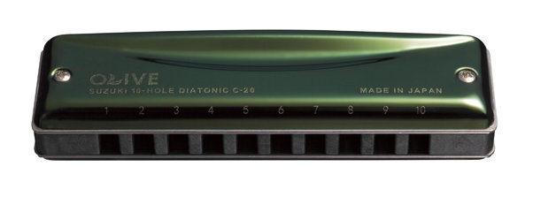 View larger image of Suzuki 10 Hole Olive Harmonica - F#