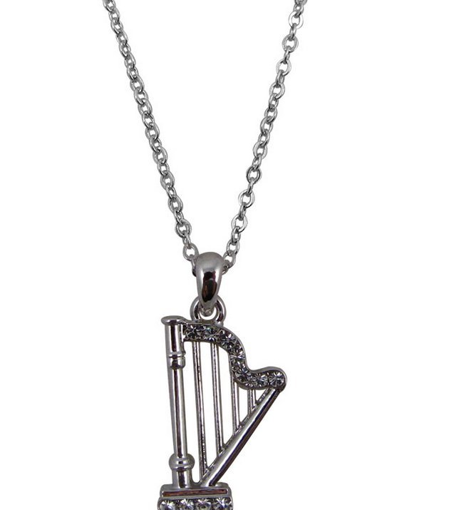 View larger image of Harp Necklace with Rhinestones - Silver