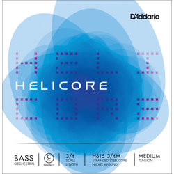 Helicore Orchestral Bass Single C (Extended E) String, 3/4 Scale, Medium Tension