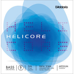 Helicore Orchestral Bass Single Low B String, 3/4 Scale, Medium Tension