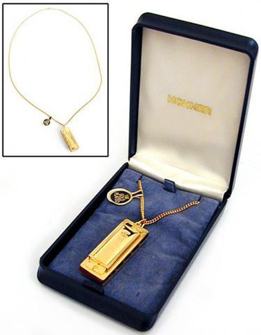 View larger image of Hohner Little Lady Mini Diatonic Harmonica Necklace - Key of C, Gold