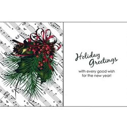 Holiday Cards with Pine Sheet Music - 8 Pack
