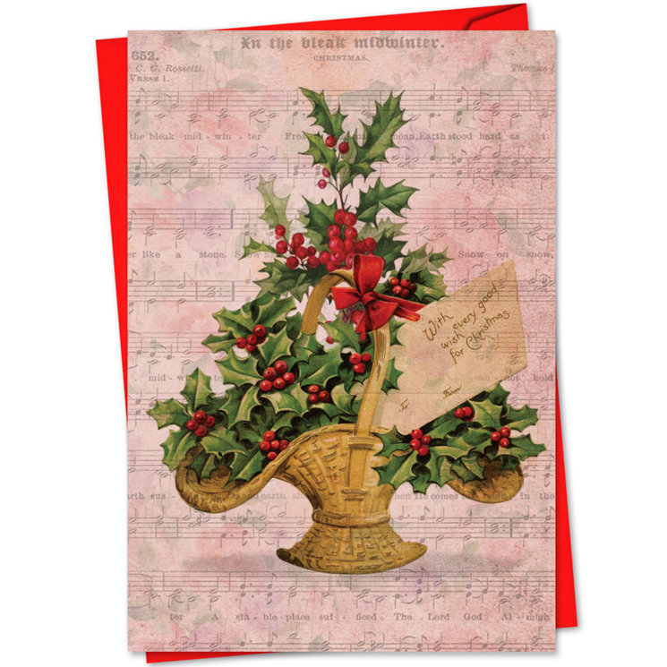 View larger image of Holly Notes Christmas Card - Christmas Basket