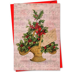 Holly Notes Christmas Card - Christmas Basket