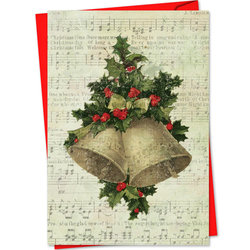 Holly Notes Christmas Card - Christmas Bells