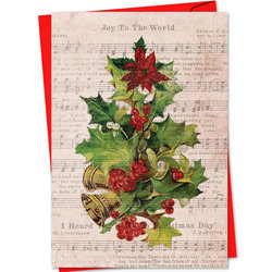 Holly Notes Christmas Card - Christmas Flowers/Bells