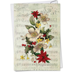 Holly Notes Christmas Card - Christmas Flowers