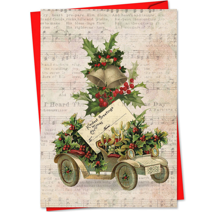 View larger image of Holly Notes Christmas Card - Vintage Foilage