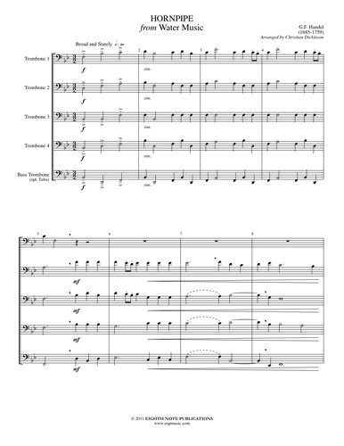 View larger image of Hornpipe from Water Music - Trombone Quintet
