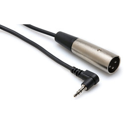 Hosa Microphone Cable - Right-Angle 3.5mm TRS to XLR3M, 2'
