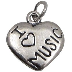 I Love Music Sterling Silver Heart Charm