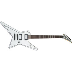 Jackson USA Signature Gus G. Star Electric Guitar - Rosewood, Satin Whtie with Black Pinstripes