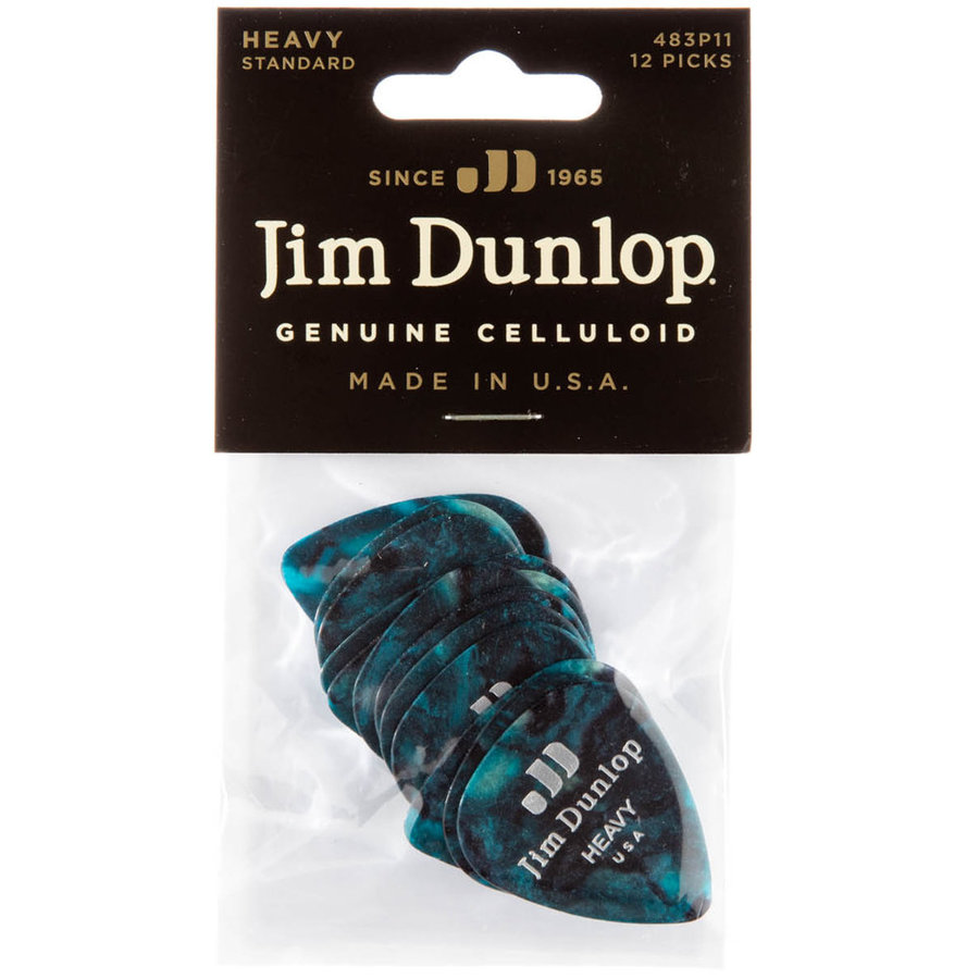 View larger image of Jim Dunlop Celluloid Classic Picks - Heavy, Turquoise Pearl, 12 Pack