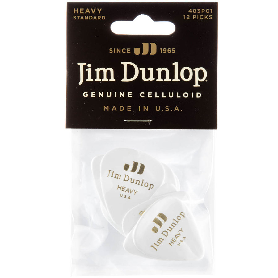 View larger image of Jim Dunlop Celluloid Classic Picks - Heavy, White, 12 Pack