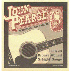 John Pearse 100XL 80/20 Bronze Wound Acoustic Guitar Strings - X-Light