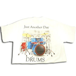 Just Another Day with Drums T-Shirt - White, XXL
