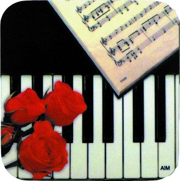 View larger image of Keyboard and Rose Vinyl Coaster - Square
