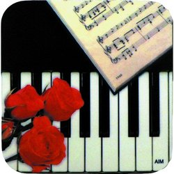 Keyboard and Rose Vinyl Coaster - Square