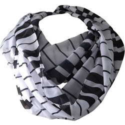 Keyboard Infinity Scarf - Black/White, 26x72