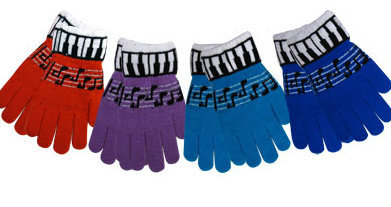 View larger image of Keyboard/Music Staff Stretch Gloves - Pair