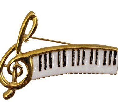 View larger image of Keyboard Rhinestone Brooch - Gold